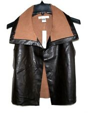 August Silk - XL - NWT $68 - Brown Faux Leather & Ribbed Knit Collar Vest Jacket