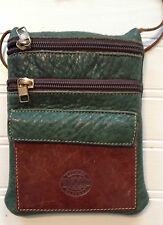 ROOTS SMALL GREEN HANDBAG SHOULDER THIN STRAP LEATHER CUTE GUC VINTAGE??