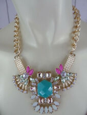 NEW COSTUME JEWELRY NECKLACE Chunky Chain Choker Rhinestone Faux Gem Flower CHIC