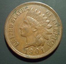 Au 1901 90/90 Indian Head Cent Rpd Snow 12 S12 Rare Repunched Date Error n26