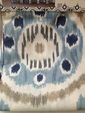 JESMINE FABRIC SHOWER CURTAIN TIE DYE BLUE MEDALLIONS W/ ROLLER HOOKS IVORY GRAY