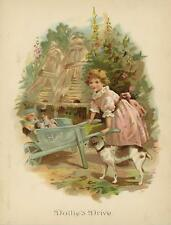 ANTIQUE VICTORIAN BEEHIVE BEE GIRL PINK DRESS BEAGLE DOG PLAYS DOLLS COLOR PRINT