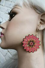 MANDALA ETHNIC BOHO GRUNGE INDIE FASHION ORIENTAL FLOWER ROSE DANGLE EARRINGS