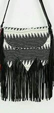 Urban Outfitters Ecote Tapestry Fringe Crossbody Handbag Purse - Black and White