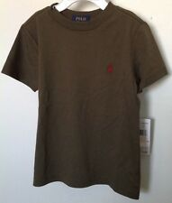Ralph Lauren Boys T-Shirt~Olive Green~SS~Small Red RL Logo~Size 2T~NWT
