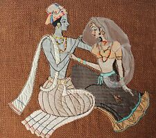 Vintage Art Needle & Fabric Work King & Bride Doing Love Made In India #go684