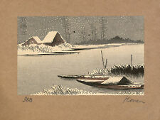 Japanese Print Reproductions: Konen: Ferryboats in Snow:  Fine Art Print