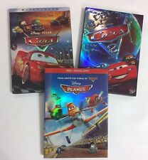 CARS, CARS 2, PLANES, 3 DISNEY DVD MOVIES SET - DVD COLLECTION W/Slipcover