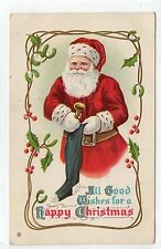 """ALL GOOD WISHES FOR A HAPPY CHRISTMAS"": Embossed Santa Claus postcard (C14084)"