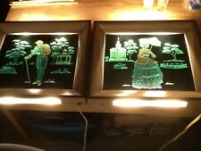 2 Vintage Etched&Painted Glass Lighted Picture