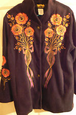 BOB MACKIE 'WEARABLE ART' EMBROIDERED FLOWER COAT-WOMENS MEDIUM-REALLY SPECIAL