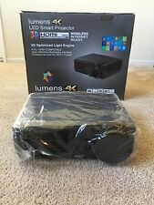 Lumens 4K LED Smart Projector 3D/HDMI Compatible WITH Digital Projector Screen