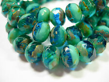 25 8x6mm Capri Blue / Turquoise Picasso Czech Fire polished Rondelle beads