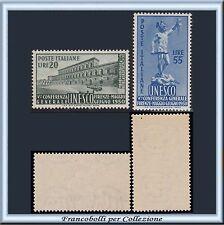 1950 Italia Repubblica UNESCO Serie completa n 618/619 Centrati Nuovi Integri **