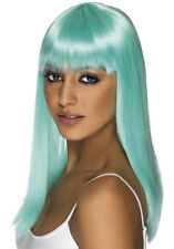 Womens Girls Neon Aqua Glamourama Wig Long Straight Fringe Katy Perry Colour Fun