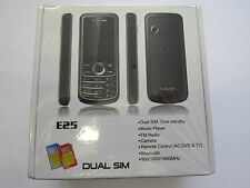 TRI BAND USA DUAL SIM BLACK UNLOCKED MOBILE PHONE E25-CAMERA,VIDEO,MP3,BLUETOOTH