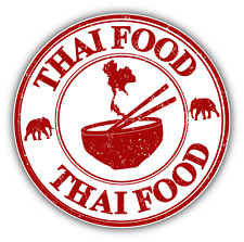 "Thai Food Grunge Rubber Stamp Car Bumper Sticker Decal 5"" x 5"""