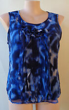 Rockmans frilled sleeveless print plus size 16 blue top lined