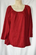 Willi Smith Womens Large Red Long Sleeve Light Sweater Shirt Top Pleated Neck