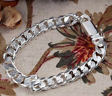 925 Sterling Silver SP 10MM Square Clasp Grain Strong Men Chains 8inch Bracelet