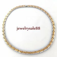 """Fashion Gold&silver stainless steel men's 8mm jewelry Flat chain necklace 20"""""""