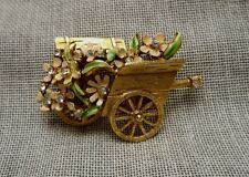 1964 Signed BSK - My Fair Lady Brooch - Flower Cart - Enamel & Rhinestone