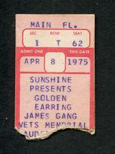 Original 1975 Golden Earring James Gang concert ticket stub Ohio Switch Tour