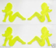 4 PC Reflector Sexy Naked Nude Lady Trucker Mudflap Girl Sticker Decal Yellow