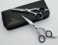 "6"" Professional Hairdressing Scissors Barber Haircutting Shears Set Silver"