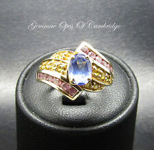 Viva Las Vegas 9ct Gold Tanzanite and Pink and Yellow Sapphire Ring Size J 3.9g