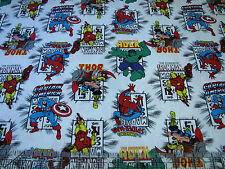 1 Yard Quilt Cotton Fabric- Camelot Marvel Avengers Immortals Comic Book Logo