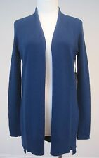 Max Studio Open Front Cardigan Sweater 100% 2Ply Cashmere Side Slits Blue New