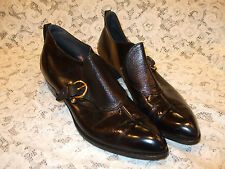 Vtg Stetson/DJ Kaufman Patent Leather Ankle Boots/Shoes~Buckle/Cuban Heel~12 AAA