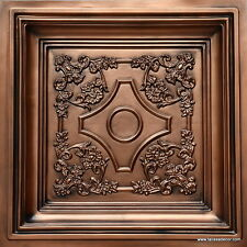 Coffered look Faux tin ceiling tile TD03 Aged Copper 100  tiles lot (400 sq.ft.)