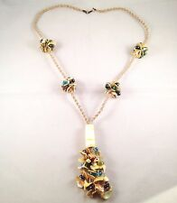 Handmade Lagenlook Long Macrame Sea Shells Multicolour Glass Beads Necklace