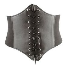 Ladies Super Wide Faux Leather Tassels Elastic Stretchy Corset Waistband Belt
