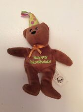 "Ty CELEBRATION Bear Brown Happy Birthday 8.5"" Beanie Baby No Hang Tag"