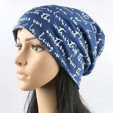 Women  Letter Print Warm Winter Cotton Knit Ski Beanie Baggy Cap Hip-Hop Hat E