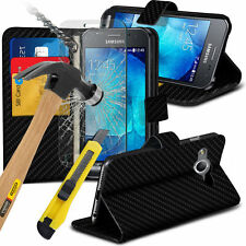 Carbon Fibre Wallet Case Cover & Tempered Glass For Samsung Galaxy XCover 3