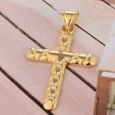 Vintage Mens Yellow gold filled mystic Cross pendant love Fit Gold necklace