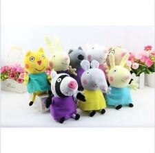 8Pcs Peppa Pig Friends Plush Doll Stuffed Toy Suzy Sheep Rebecca Rabbit 7.5""