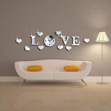 Spiegel LOVE Wanduhr Uhr 3D Sticker Wand Deko Herz Wandaufkleber Wandtatoo Neu