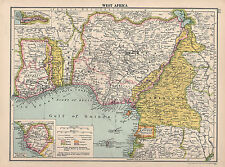 1930 MAP ~ WEST AFRICA ~ GOLD COAST CAMEROONS POSSESSIONS SIERRA LEONE