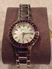 DKNY Purple Crystals Women's Watch NY8461 NIB!