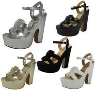NEW LADIES WOMEN CHUNKY STRAPPY HIGH BLOCK HEEL PLATFORM BUCKLE PARTY SHOES SIZE