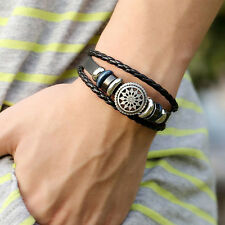 Women/Men Leather Cute Cool Braided Cuff Wrap Bracelet Jewelry Punk Wristband UK