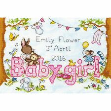 BOTHY THREADS BUNNY LOVE GIRL BABY SAMPLER CROSS STITCH KIT - NEW XKG2