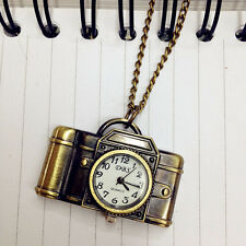 Unisex Antique Bronze Camera Design Pendant Pocket Watch Necklace Gift Ornate