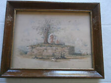 FRAMED VICTORIAN INDIAN WATERCOLOUR PAINTING by G.CUMMINS A SHRINE NEAR  VILLAGE