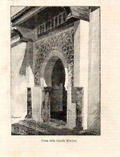 Stampa antica TANGERI TANJA porta Grande Moschea Marocco Morocco 1885 Old print
